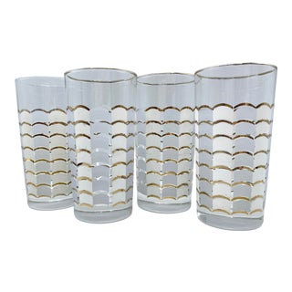 Vintage Gray and White Scalloped Highball Cocktail Glasses - Set of 4 For Sale