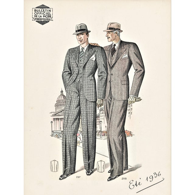 Matted French Art Deco Men's Fashion Tailoring Lithograph For Sale - Image 4 of 4