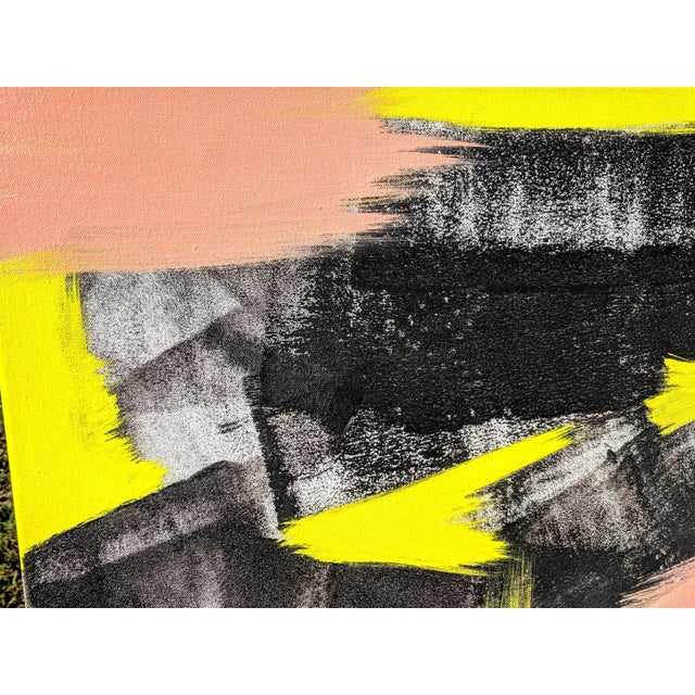 Canvas Original Abstract Neon Lime Salmon Pink and Black Painting For Sale - Image 7 of 13