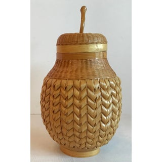 1950s Chinese Pear Shaped Woven Wicker Encased Terra Cotta Jar Preview