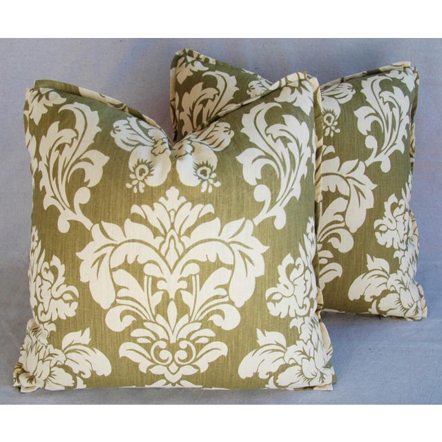 "21"" Designer Brule Fabric Randall Damask Feather/Down Pillows - Pair For Sale In Los Angeles - Image 6 of 11"