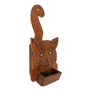 Folk Art Cat Wall Pocket Fireplace Match Caddy For Sale