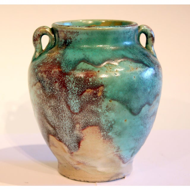 """Great Jugtown pottery Chinese flambe vase with handles, circa early/mid 20th century. 6 1/8"""" high, 5 3/4"""" diameter...."""