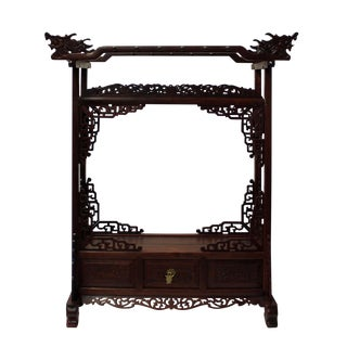 Chinese Huali Rosewood Dragon Head Pen Display Rack cs2203