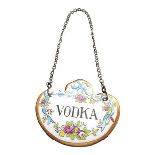 Staffordshire Decanter Label for Vodka For Sale
