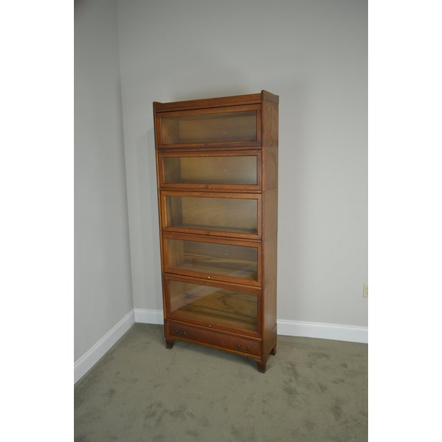 Traditional Antique Oak 5 Section Stacking Barrister Bookcase With Drawer by Weis For Sale - Image 3 of 13
