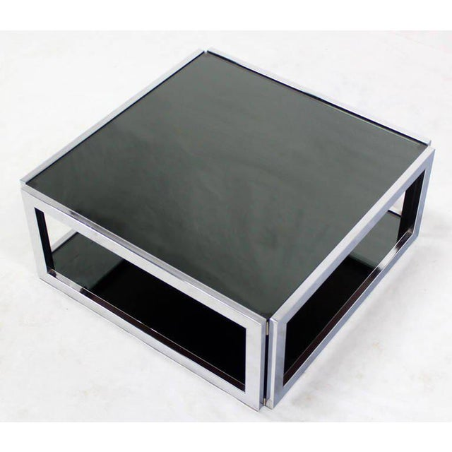Mid-Century Modern Square Chrome & Smoked Glass Coffee Table For Sale - Image 4 of 10