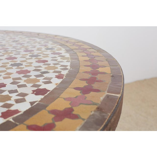 Spanish Dining Table With Moroccan Mosaic Tile Inlay For Sale - Image 11 of 13