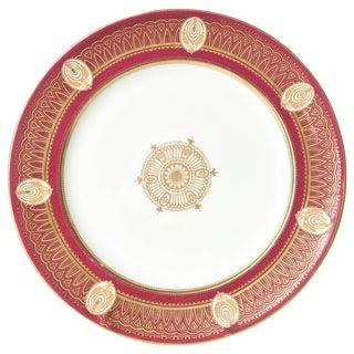 Stunning Ruby Red & Gilt Dinner Plates, Gold Medallion Centers, Raised Detail.11 For Sale