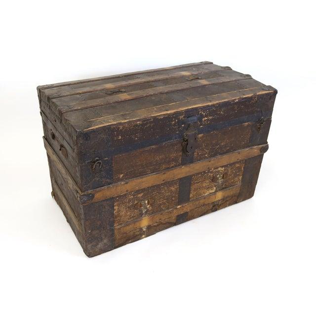 Primitive Large Antique Hardwood Steamer Trunk For Sale - Image 3 of 11