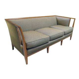 A Shapely American Mid-Century t.h. Robsjohn-Gibbings Style Sofa With Flared Openwork Arms