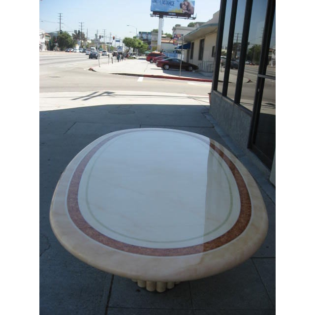 J.C. Mahey French Faux Marble Dining Table For Sale - Image 5 of 7