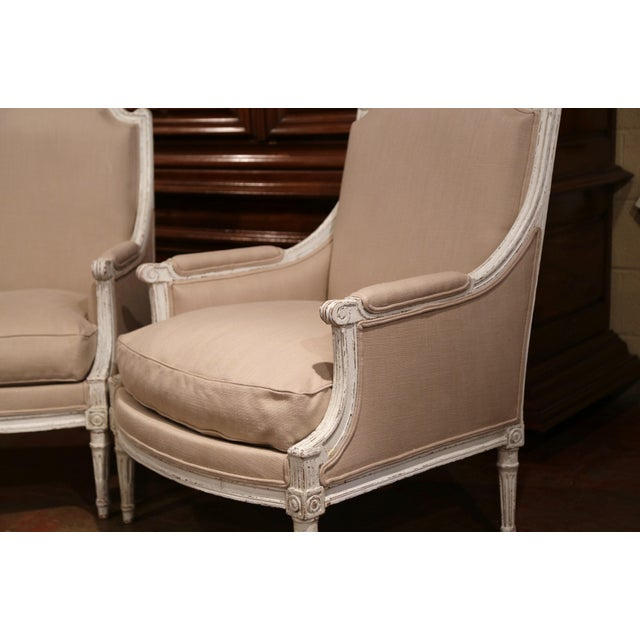 French 19th Century French Louis XVI Carved Painted Armchairs With Beige Fabric - a Pair For Sale - Image 3 of 9