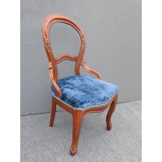 Unique Antique Balloon Back Blue Velvet Accent Chair Round Open Back Preview