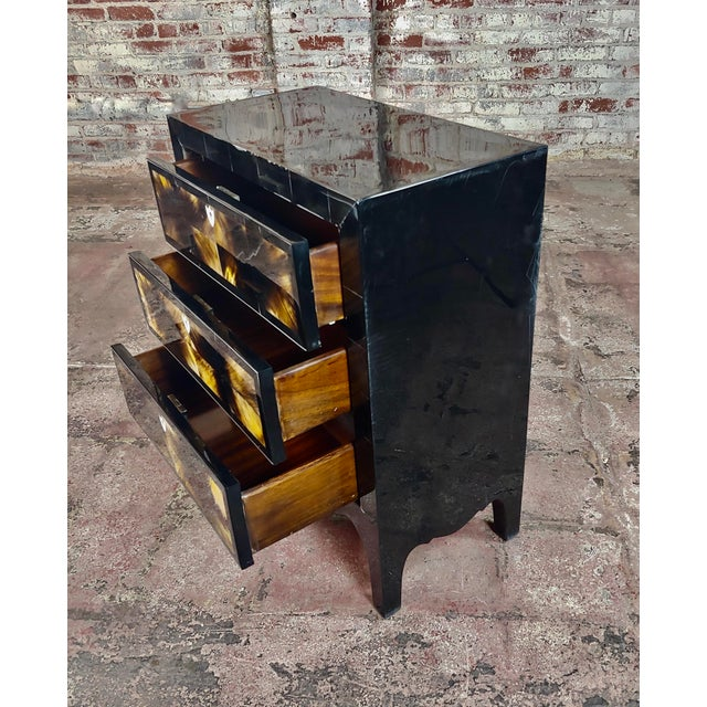 Bone Bull Horn Veneer & Black Lacquer Beautiful 3 Draws Commode For Sale - Image 7 of 9