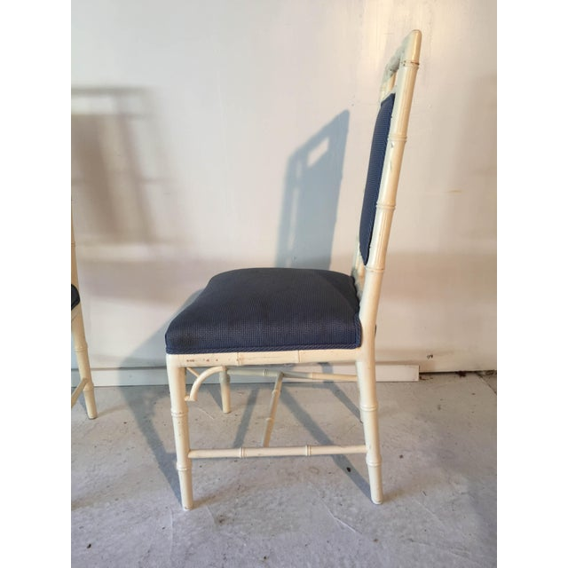 Vintage Cottage Faux-Bamboo High-Back Side Chairs - A Pair For Sale In New York - Image 6 of 8