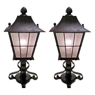 Indoor Outdoor Iron and Glass Lanterns 1930 - a Pair For Sale