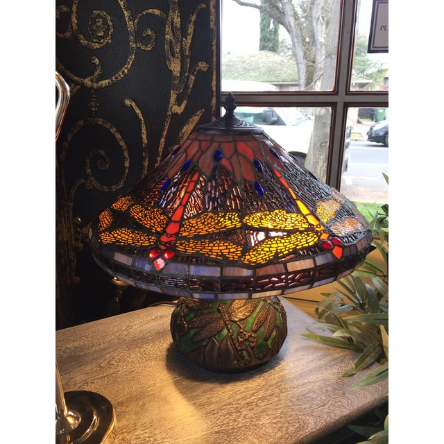 Metal Dragonfly Motif Stained Glass Lamp For Sale - Image 7 of 8