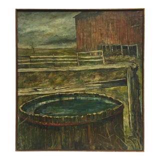 Late 20th Century Rustic Barn Scene Oil Painting, Framed For Sale