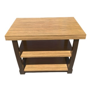 Contmeporary Designer End/Side Table With Exotic Tiger Wood Top For Sale