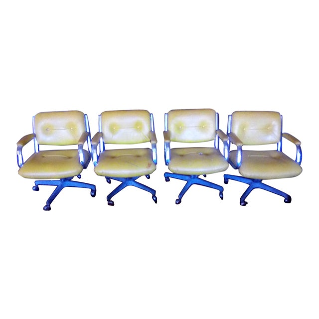 1960 Vintage Yellow Captain Chairs - Set of 8 For Sale