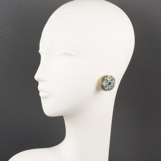 Yves Saint Laurent Paris Signed Blue Jeweled Clip-On Earrings Preview