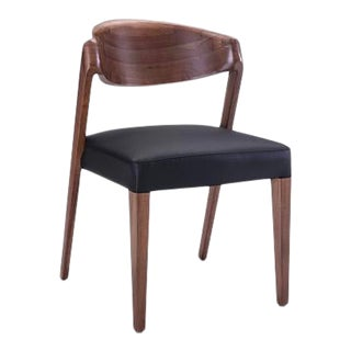 Vesta Amicus Vegan Leather Walnut Dining Chair in Black For Sale