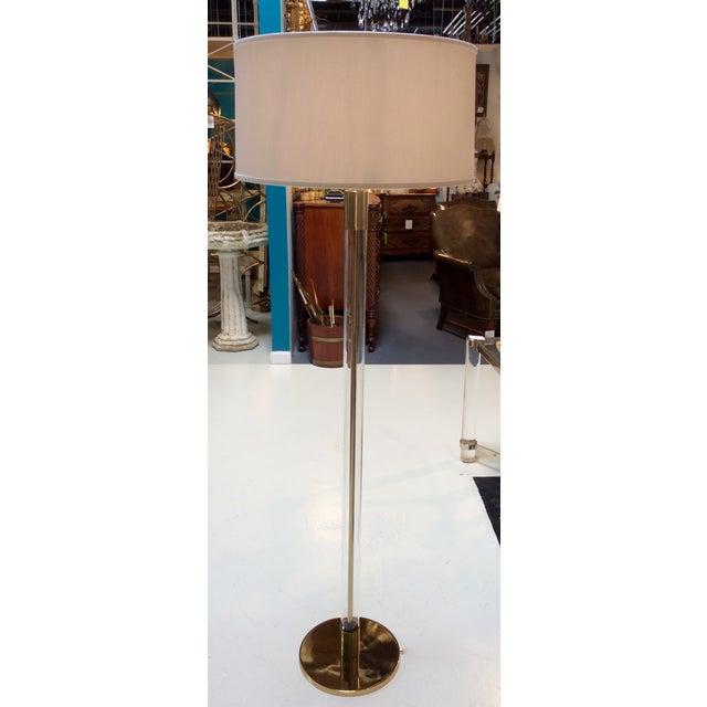 Hansen Lighting Co.Style Glass & Brass Floor Lamps - Image 2 of 6