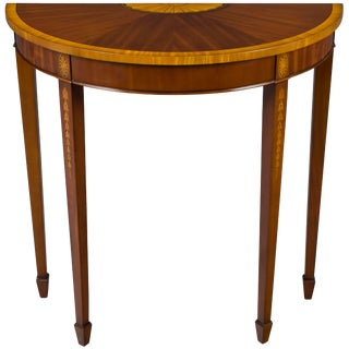 1960s Georgian Mahogany Inlaid Narrow Demi Lune Hall Table For Sale