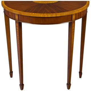 1960s Georgian Mahogany Inlaid Narrow Demi Lune Hall Table For Sale