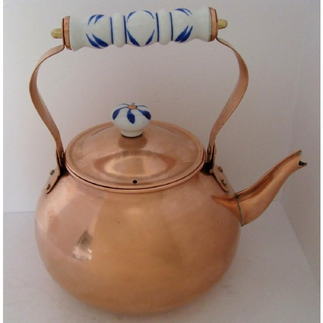 Copper & Porcelain Teapot For Sale - Image 4 of 7