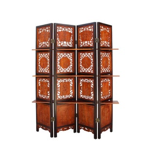 Chinese Scenery Carving 2 Brown Tone Wood Panel Floor Screen Display Shelf
