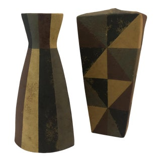 'Masse' Tall Handmade Vases, Signed - a Pair For Sale