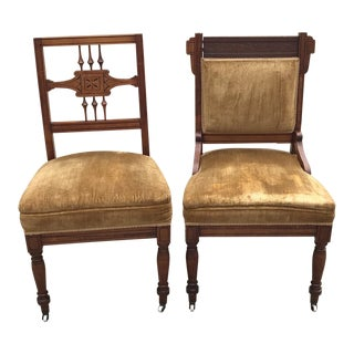 Late 19th Century Antique His and Hers Carved Wooden Chairs- A Pair For Sale