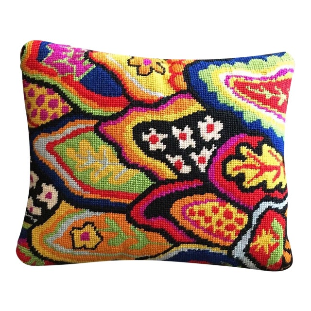 Jonathan Adler Style Multicolor Palm Beach Needlepoint Accent Velvet Pillow For Sale