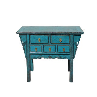 Chinese Vintage 5 Drawers Distressed Blue Side Table Vanity Cabinet