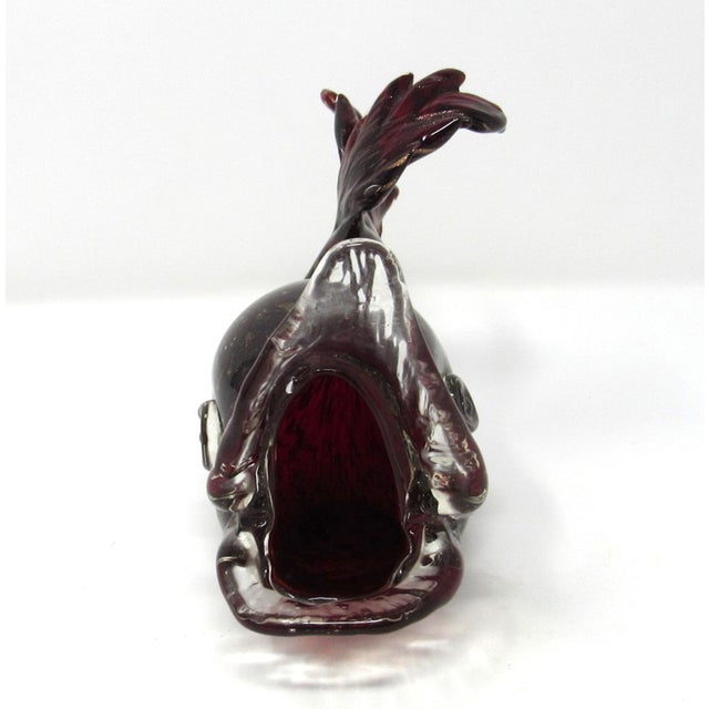1960s Hand-Blown Red Art Glass Fish Ashtray For Sale - Image 4 of 10