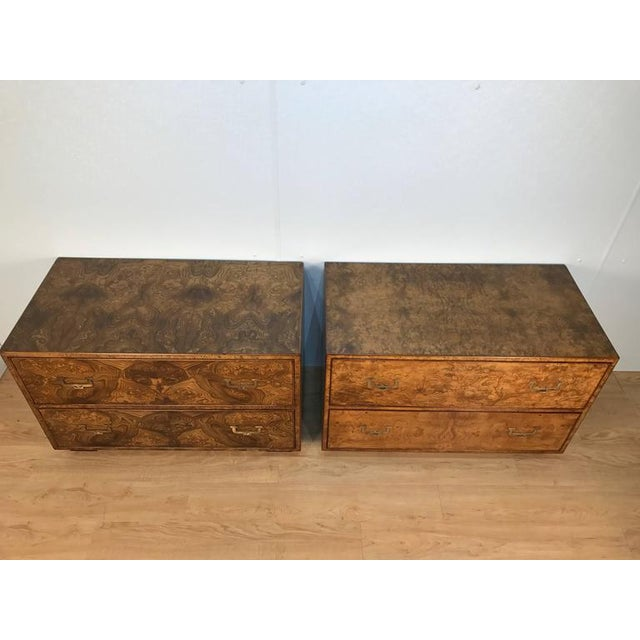 Stunning near pair of burl wood campaign style two-drawer chests by John Widdicomb. Very similar, one slightly darker with...