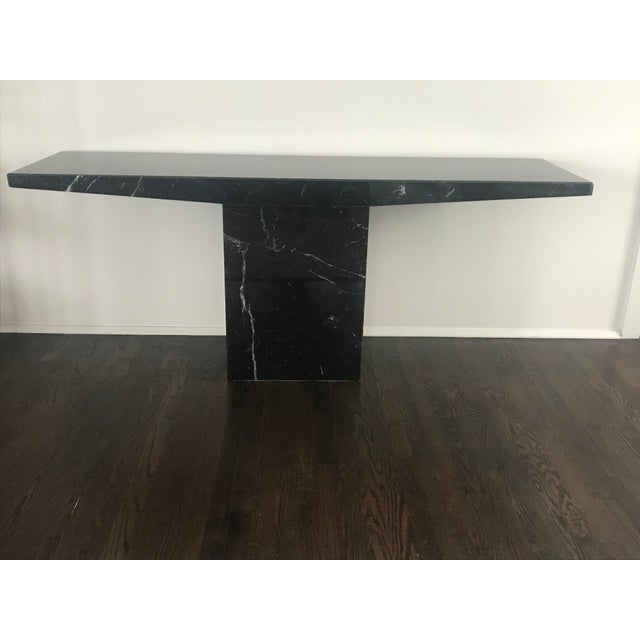 Black 1960s Stone International for Ello Black Marble Pedestal Console For Sale - Image 8 of 10