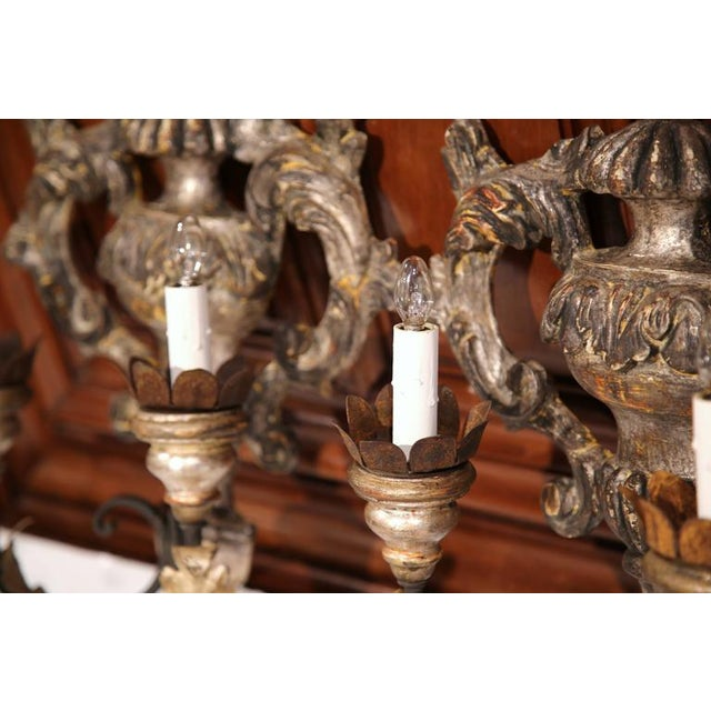 Italian Carved & Metal Two-Light Sconces With Silver Leaf Finish - A Pair For Sale In Dallas - Image 6 of 8
