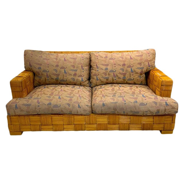"Donghia Woven Rattan ""Block Island"" Sofa by John Hutton For Sale"