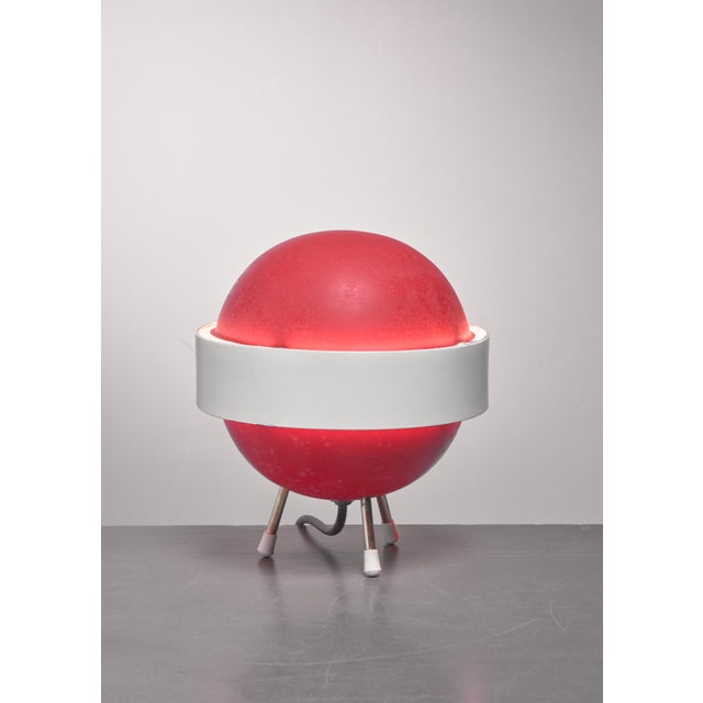 Mid-Century Modern Red and white Stilux table lamp, Italy, 1950s For Sale - Image 3 of 4