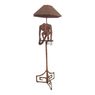 Mario Lopez Torres Wicker Monkey Floor Lamp For Sale