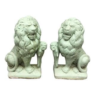 Vintage Garden Cement Lion Statues - a Pair For Sale