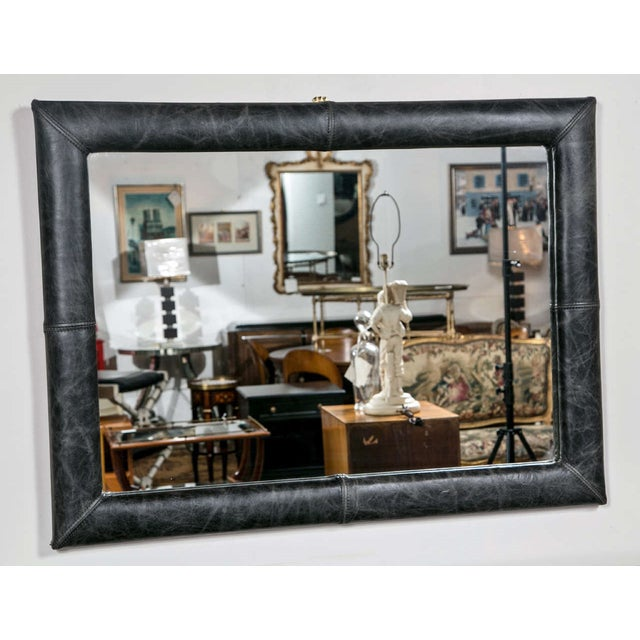 Mid Century Decorated Leather Mirror - Image 2 of 5