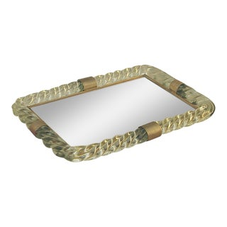 Murano Twisted Rope Glass Mirrored Vanity Tray For Sale