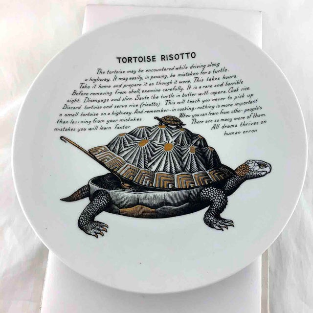 Black Piero Fornasetti 1960's Tortoise Risotto Improbable Recipe Plate for Fleming Joffe For Sale - Image 8 of 9