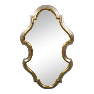 LaBarge Italian Style Scalloped Silver & Gold Gilt Mirror For Sale