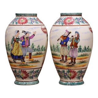 Pair of Early 20th Century French Hand Painted Vases Signed Hb Quimper For Sale
