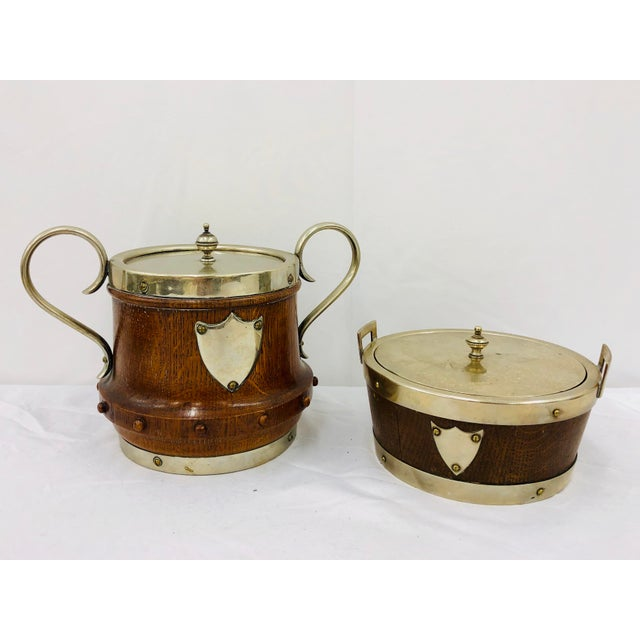 Stunning Antique English Oak and Silver Pub Boxes / Serving Containers with Trophy Shields. Original finish fittings and...